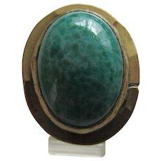 Rafael Canada Modernist Brutalist Handmade Ring with Murano Opaque Green Glass Stone, c. 1970's