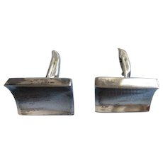 Mid Century Modernist Signed Mexican Sterling Silver Cufflinks