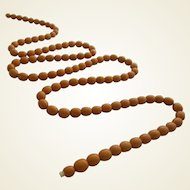 Art Deco Butterscotch Bakelite 100 Beads 45 inch Long Necklace