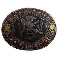Old Damascene Brooch with Mythological Creature