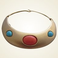 AVERIL Hinged Metal Choker Collar Necklace with Simulated Coral and Turquoise Cabochons, c. 1960's