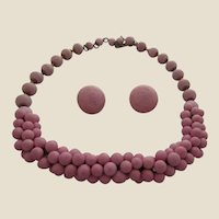 Vintage Dusty Pink Bisque (China) Beaded Necklace and Earrings
