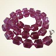 Art Deco Chunky Magenta Crystal Barrel Bead Choker Necklace