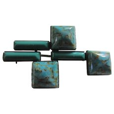 Terrific Pierre Cardin Abstract Moderne Turquoise Art Glass Brooch
