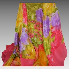 ANNE KLEIN for VERA Riot of Flowers Large Silk Scarf