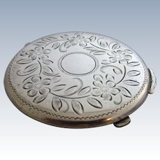 Slim Sterling Silver Powder Compact with Engraved Garland of Flowers, Can Be Monogrammed