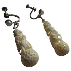 Intricately Carved Bone Triple Elephant Earrings With A Simulated Pearl