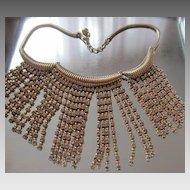 Fabulous NAPIER c. 1950's Faux Gold & Diamonds Fringe Necklace, Book Piece