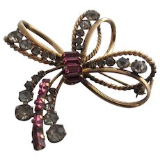 Carl-Art Delicate 1/20 12 KT GF Bow Brooch Pendant with Pink Baguettes
