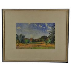 Vintage Original Watercolor Painting Asian Canadian Landscape Impressionist Art