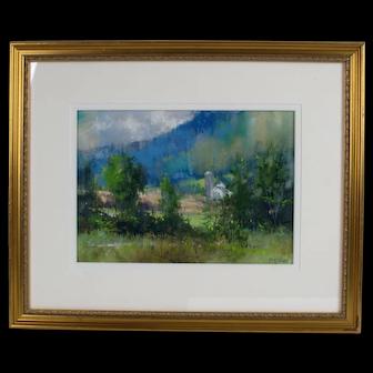 Richard McKinley Impressionist Pastel Painting Landscape Listed Artist Framed