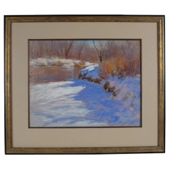 Lorenzo Chavez Impressionist Pastel Painting Landscape Listed Artist Winter