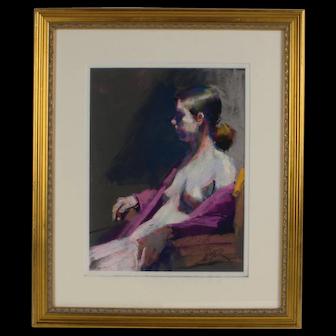 Margaret Dyer Impressionist Pastel Painting Female Nude Listed Artist Framed