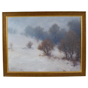 John Sills Listed Artist Signed Oil Painting Winterscape Winter Landscape