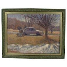 Palden Hamilton Listed Artist Signed Oil Painting Car Auto Winter Landscape