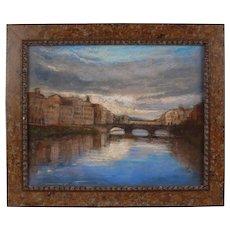 Alan Flattmann Listed Artist Signed Pastel Painting Landscape River Florence