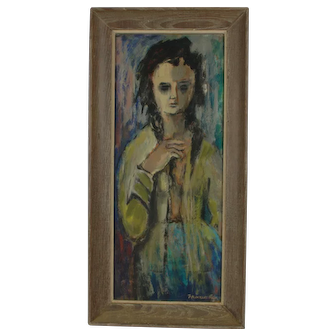 Frances Stein Vintage Oil Painting Portrait Woodstock New York Cubism Abstract