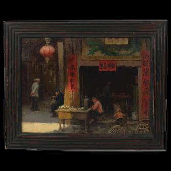 Scott Powers Listed Artist Signed Oil Painting Asian Market Scene Plein Air