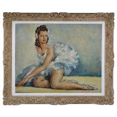 MONJORGET, Oil on hardboard panel, Ballerina Dancer, 1930s