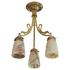 French Art Deco Alabaster Chandelier, 1920s
