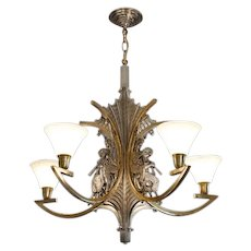 French Art Deco Bronze God Pan Chandelier 1930