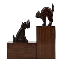 French Art Deco Cat & Dog Bookends, 1930s