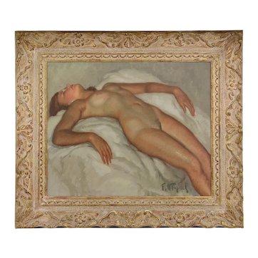 Fernand Majorel, Naked Woman Lying, Oil on Canvas, 1930s