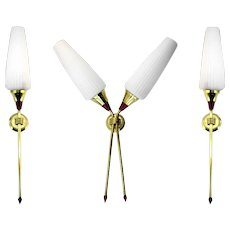 Vintage French Wall Sconce Set 1950s