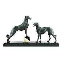 French Art Deco Greyhound (Borzoi) Sculpture, 1930