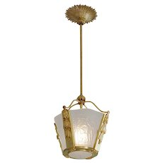 French Art Deco Bacchus Chandelier Ceiling-Light, 1920s