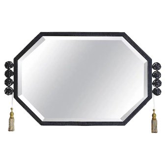Large French Art Deco Wrought-iron Wall Mirror, 1930