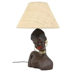 German Mid-century Black Woman Table Lamp, 1950s