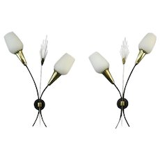 Vintage French Pair of Double Wall Sconces 1950s - possibly 2 pairs