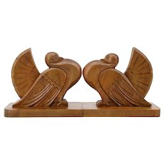 French Art Deco Pigeons Bookends, 1930s