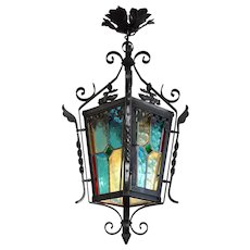 French Art Nouveau Stained-glass Lantern 1890-1900