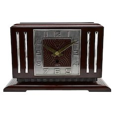 JAZ Large French Art Deco Bakelite Clock, 1930s
