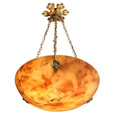 French Art Deco Alabaster Pendant Chandelier, ca.1920