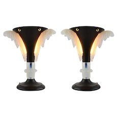 PETITOT French Art Deco Pair of Lamps, ca.1930