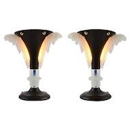 PETITOT French Art Deco Pair of Lamps, ca.1930