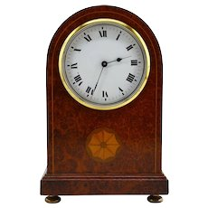 French Art Deco Inlaid Amboyna Veneered Table Clock, 1920s, Sue & Mare
