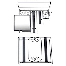 French Art Deco Wrought-iron & Mirror Coat Peg, and Umbrella Stand, 1930s