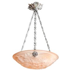 DEGUE French Art Deco Pink Pendant Chandelier, ca.1930