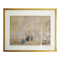 """James WARD Antique Watercolor """"The Fisherman's Family"""" 1830-1840"""
