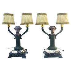 French Art Deco Pair of Table Lamps 1920