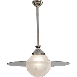 French Art Deco Saturn Pendant Chandelier 1930s
