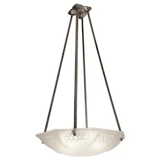 MULLER FRERES Large French Art Deco Pendant Chandelier, Late 1920s