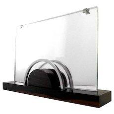 French Art Deco Macassar, Chrome & Mirror Photo Frame 1930
