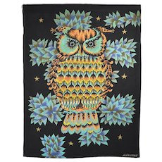 Wall Tapestry by Alain Cornic, Owl, Aubusson,1950s