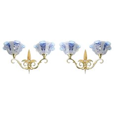 Jean GAUTHIER French Art Deco Pair of Double Wall Sconces, 1920s