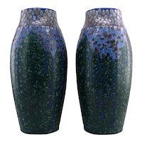 REVERNAY French Art Deco Pair of Ceramic Vases, ca.1925